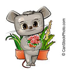 Mouse. Cartoon style. Young cub. Vector. Cute baby.