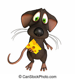Mouse - Caught with Cheese - A toon mouse caught with a...