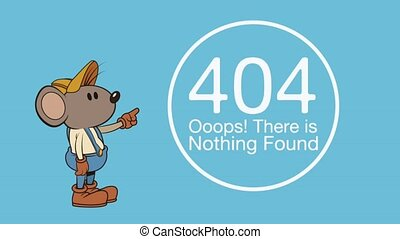 mouse character with error 404 animation illustration design...