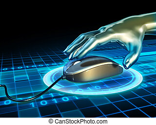 Mouse click - Android hand grabbing a mouse in cyberspace. ...
