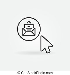 Mouse click on E-Mail button vector outline concept icon