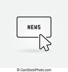 Mouse click on news button vector concept icon