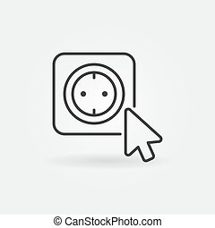 Mouse click on smart socket vector outline icon