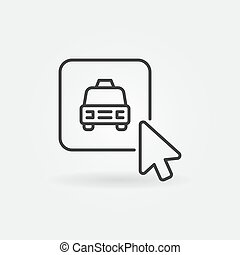 Mouse Click on Taxi Button vector concept outline icon