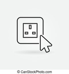 Mouse click on UK smart socket vector outline icon