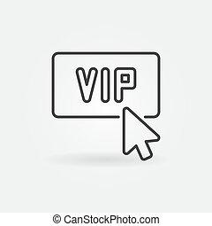 Mouse click on VIP button vector concept outline icon
