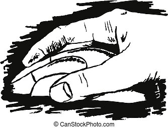 sketch drawing of a hand clicking on a computer mouse device