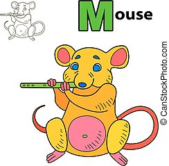 Mouse. Coloring book page
