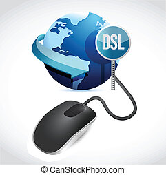 mouse connected to a grey globe with a DSL sign.