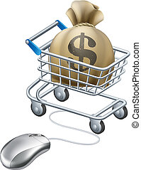 Mouse connected to trolley full of money in a big sack with ...