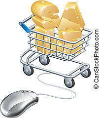 Mouse connected to trolley web sale concept