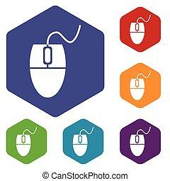 Mouse controller hexagon icon set
