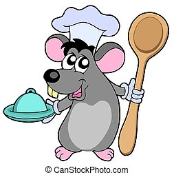 Mouse cook with spoon - isolated illustration.