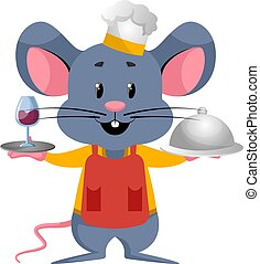 Mouse cooking, illustration, vector on white background.