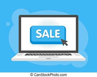 Mouse cursor clicks the sale button. Laptop notebook computer screen. Vector illustration