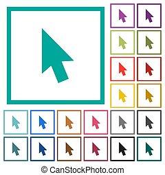 Mouse cursor flat color icons with quadrant frames