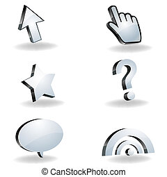 illustration of mouse cursors with arrow, finger, star, question mark, text bubble, rss on white background