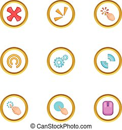 Mouse cursor icons set, cartoon style