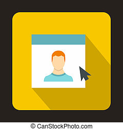Mouse cursor pointing to a person on monitor icon