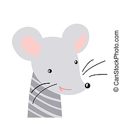 Mouse cute animal baby face vector illustration. Hand drawn style nursery character. Scandinavian funny kid design
