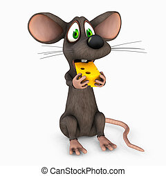 mouse eating cheese - 3d