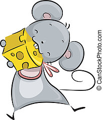 Mouse Eating Cheese - Illustration of a Mouse Happily...