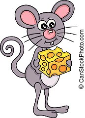 Mouse eating cheese cube
