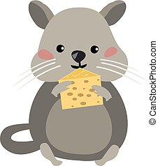 Mouse eating cheese, vector or color illustration.