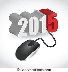 mouse elaboratore, collegato, a, 2015, illustrazione