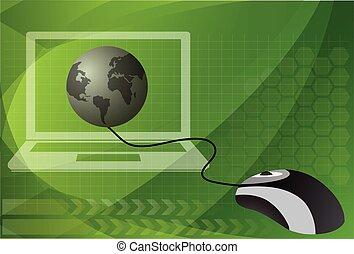 mouse elaboratore, collegato, a, uno, globo