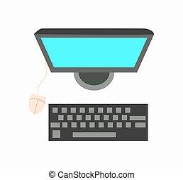 mouse elaboratore, con, tastiera, e, monitor, icona