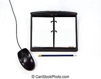 mouse elaboratore, matita, quaderno
