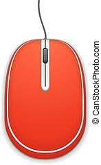 mouse elaboratore, rosso