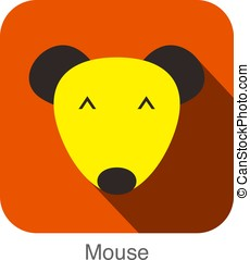 mouse face flat icon design. Animal icons series.