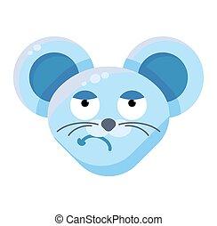 Mouse face sceptical emoticon sticker. Dissatisfied animal emoji, grumpy rat facial expression