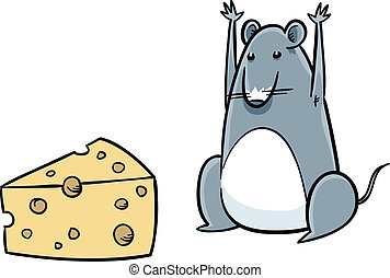 Mouse Finds Cheese - A cartoon mouse celebrates after...