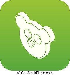 Mouse form button clothes icon green vector