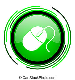 mouse green circle glossy icon