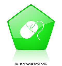 mouse green pentagon web glossy icon