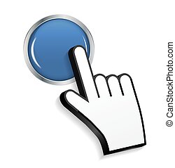 Mouse Hand Cursor on Circle Glossy Button Vector Illustration