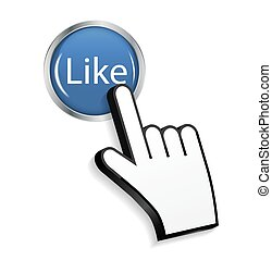 Mouse Hand Cursor on Circle Glossy Like Button Vector Illustration