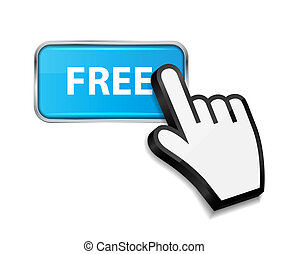 Mouse hand cursor on FREE button vector illustration