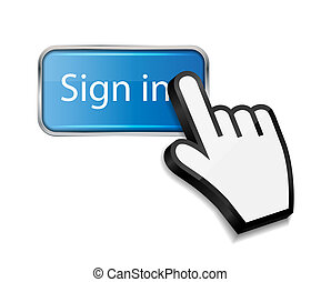 Mouse hand cursor on sign in button vector illustration