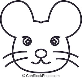 mouse head vector line icon, sign, illustration on background, editable strokes
