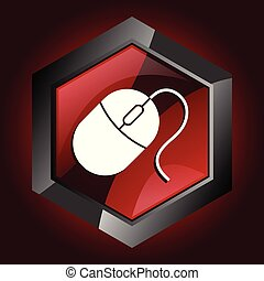 Mouse hexagonal glossy dark red and black web icon, vector illustration in eps 10