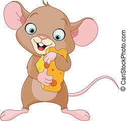 Mouse holding a piece of cheese - Cute mouse holding a piece...