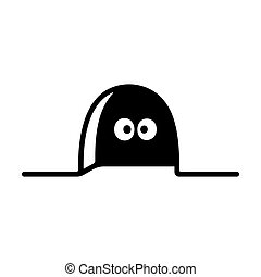 Hole in wall with mouse eyes looking from inside. Funny cartoon house mouse vector illustration.