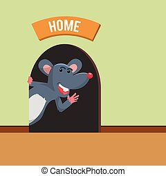 Mouse home inside house. Illustration of a close view on a ...