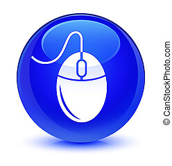 Mouse icon glassy blue round button