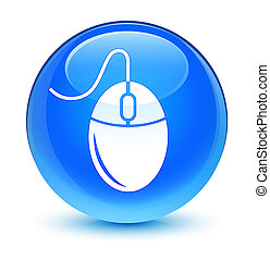 Mouse icon glassy cyan blue round button
